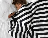 Black and White Striped Fleece Blanket // Kid Blanket // Child Blanket
