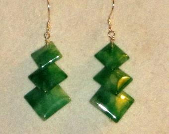 REDUCED FOR CHRISTMAS Green Jade Artisan Dangle Earrings