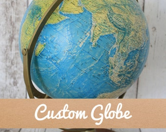 Custom Vintage 1970s Globe | Wedding Guestbook | Personalised Lettering | Home Decor | Custom Colours | Wanderlust | Hand Lettering