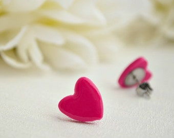 Fuchsia heart earrings - Studs earrings
