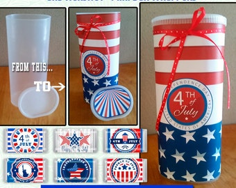 Crystal Light Container Wrapper, 4th July Hershey Mini's Candy Bar Wrapper,Printable favor wrapper