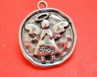 925 sterling silver oxidized round disc with praying angel, silver angel, praying angel, disc with angel, angel