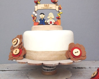 Autumn, Fall wedding topper - shabby chic style personalised cake topper
