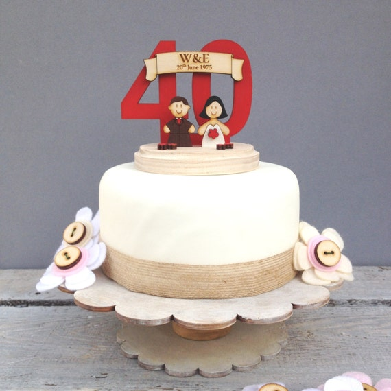 Wedding anniversary topper - shabby chic style personalised cake topper