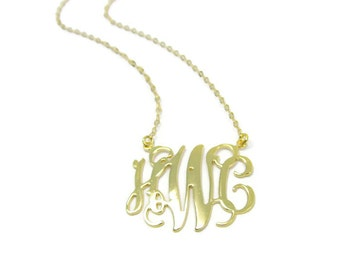 "Monogram Necklace. 1"" Initial necklace. Gold plated sterling silver 925. Gold initial necklace. Gold monogram necklace. Personalized jewelry"