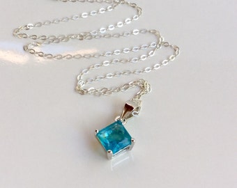 Aquamarine Necklace Sterling Silver Aquamarine CZ Necklace, March Birthstone Necklace Blue Cubic Zirconia Charm