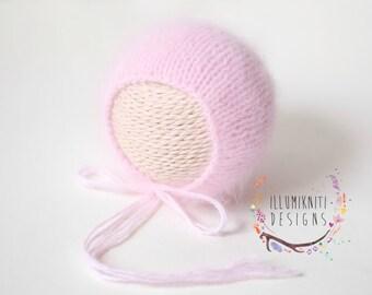 Newborn Props Light Pink Angora Bonnet - Newborn Simple Angora Bonnet - Newborn Pink Angora Bonnet - Angora Photography Prop - Ready to Ship
