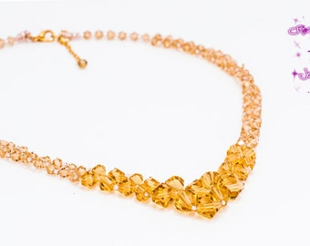 Champagne Crystal Graduated Statement Necklace