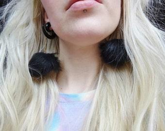 Black Fluffy Pom Pom Furry Fur Ball Fuzzy Kawaii Earrings Jewellery Jewelry