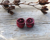 Made to order - Pair Rustic Roses, pearly pink, shimmering magenta roses, rustic polymer clay rose beads, stylized folk art rose, art beads