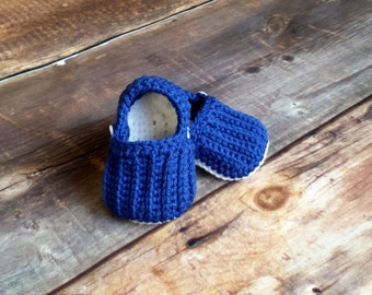 Baby Shoes Loafers - boys royal blue white booties knit crochet toddler infant newborn Indianapolis Colts Duke Blue Devils Air Force Falcons