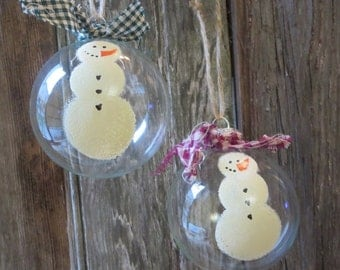 Glass Christmas Tree Ornament - Set of 2 - Hand Painted