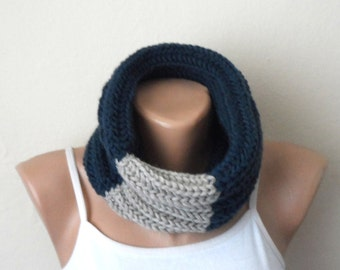blue gray knit infinity scarf blue gray circle scarf wrap winter scarf