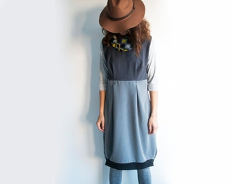 Asymmetrical empire waist dress, grey dress, a line dress, dress with pockets, dress with sleeves, casual dress