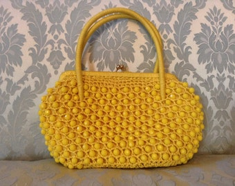 1960s Vintage Purse Lemon Yellow Straw Beaded Made in Italy