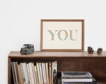 "Hand-lettering green ""you"" art print for the boy nursery"