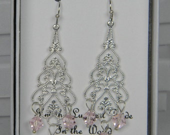 Pink Bridesmaid Earrings, Chandelier Dangle Earrings, Rose Pink Swarovski Crystal Bridesmaid Drop Earrings,  Bridal Jewelry- SC1