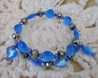 Beautiful Blue Heart Beaded Memory Wire Bracelet  (I 574)