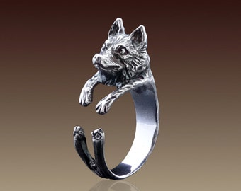 Siberian Husky Ring, Silver Husky Dog, Sterling Silver Ring, Animal Ring, Animal Jewelry, Handmade Ring, Dog Ring, Dog Jewelry, Husky Puppy