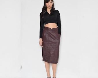 Vintage 80's Real Leather Midi Skirt / Eggplant High Waist Leather Skirt  / Genuine Leather Skirt
