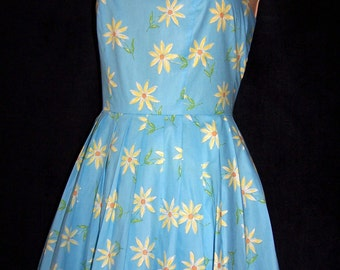Laura Ashley vintage summer 97 China blue daisy printed cotton, cross back sun dress, size 8 UK