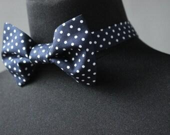 Navy and White Polka Dot Bow Tie