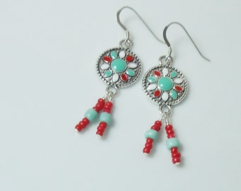 Bohemian Style Turquoise Enameled Earrings with Beaded Dangles