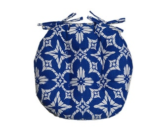 Indoor / Outdoor Tufted Round Bistro Cushion with ties ~ Richloom Aspidoras Cobalt - Royal Blue / White Geometric Sunburst ~ Choose Size