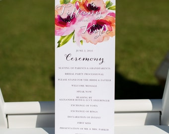 Printed Wedding Program, Floral Wedding Program, Watercolor Flower, Peony Wedding, Floral Wedding Program