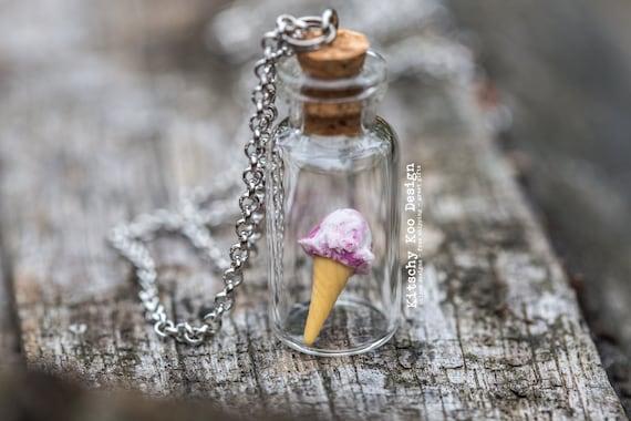FREE SHIPPING - Pink Swirl Boysenberry Ice Cream Necklace - Miniature Food Jewellery - Miniature Dessert - Ice-cream - Jewelry