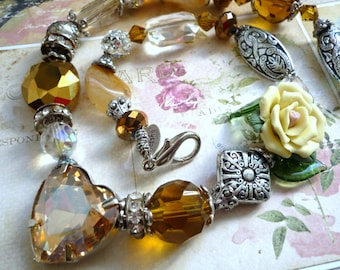 Crystal, porcelain flower, guenine semi-precious stones necklace in Downton Abbey or Victorian antique  vintage style look like 1920s