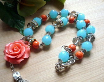 coral flower  necklace, aqua glass necklace, bohemian  necklace vintage inspired necklace, boho chic necklace summer color necklace