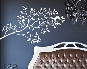 """Tree Branche With Two Love Birds & Leaf  Premium Removable Wall Art Decor Decal Vinyl Sticker Mural Size 60"""" X 35"""""""