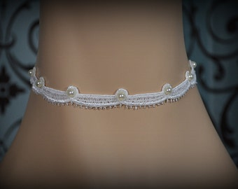 Faux Pearl Valance Choker, Wedding Party Hippie Jewelry