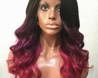 Virgin Brazilian  8A Remy Human HAIR Wig Lacefront  purple pink fuschia ombre