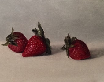 """Oil painting: Strawberries 6x4"""""""