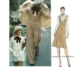 1970s Vogue 2657 JACKET PANTS SKIRT & Vest Pattern Wide Straight Leg Pants Valentino Vogue Couturier Size 14 Bust 36 Womens Sewing Patterns