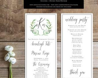 Printable Wedding Program - the Annaleigh Collection