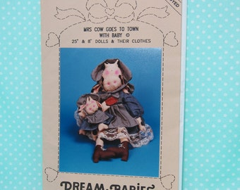 """Cow Doll Soft Sculpture Pattern. Mrs. Cow Goes To Town With Baby. 25"""" Doll. Cute, Primitive Cat Dolls Pattern. Cheap Price."""