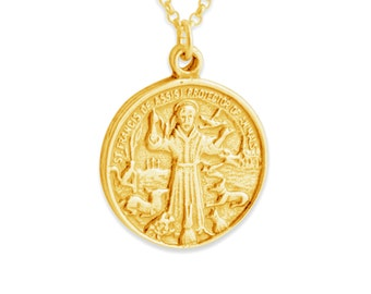 St. Francis of Assisi Pendant Necklace #14K Gold Plated over 925 Sterling Silver #Azaggi N0250G