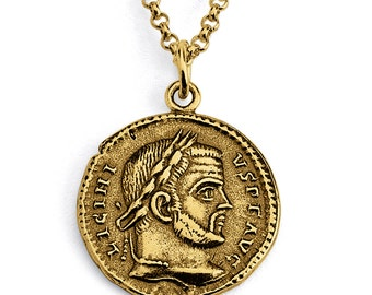 Licinius I Roman Emperor Replica Ancient Coin Numismatic Charm Pendant Necklace #14K Gold Plated over 925 Sterling Silver #Azaggi N0434G