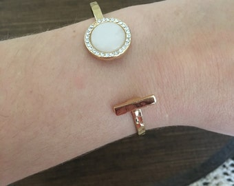 Ivory and Gold Bar Bracelet