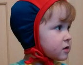 Custom Red with Navy Mesh Side Pilot Cap for those with hearing aids/ cochlear implants