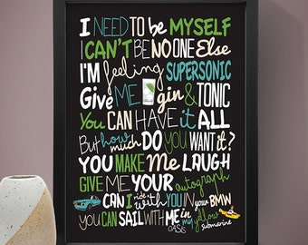 Oasis - Supersonic Poster, Song Lyrics Print, Music Poster, Music Lyrics, Oasis Poster