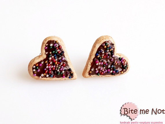 Heart Chocolate Biscuits Studs Earrings - Food Jewelry, Biscuits Posts, Cookies Earrings, Chocolate Cookies Studs