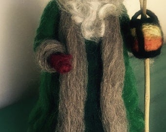 Holly King Waldorf Inspired  Needle felted Santa claus