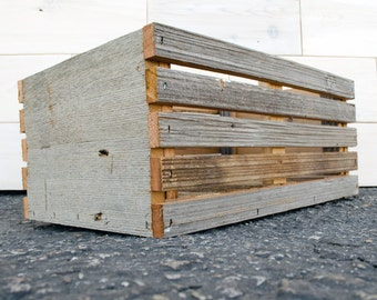 "Barn Wood Slat Crate 12"" x 8"" x 6"""