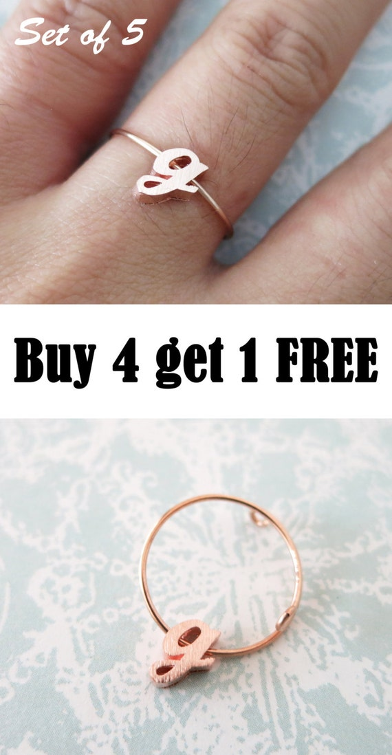 Buy 4 get 1 Free/Personalised Rose Gold Initial Letter Ring, Bridesmaid gifts, letter jewellery, best friend sister girlfriend knuckle ring