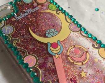 Sailor Moon Crescent Moon Wand Liquid Glitter Waterfall iPhone Case with Rhinestones