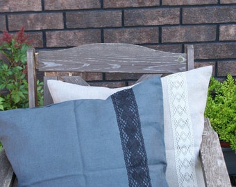 Linen Pillow Cover/ Gray/natural Linen/Linen Accessories/Decorative Pillow / Lace
